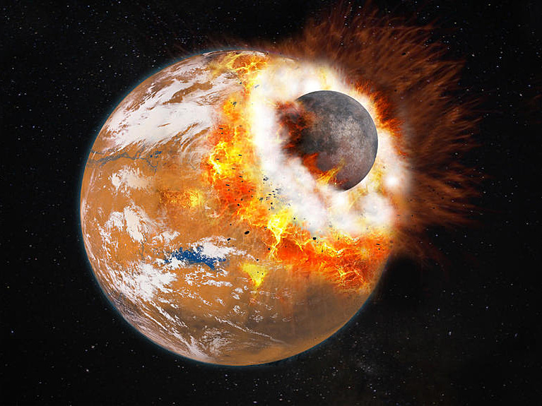 Artist's impression of the giant impact that would have given birth to Phobos and Deimos. The colliding object is about one-third the size of Mars — which at the time may have had a thicker atmosphere and water on its surface. Illustration credit: © Université Paris Diderot / Labex UnivEarthS.
