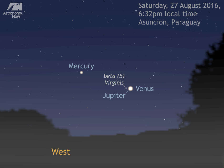 Central South America is the place to be to enjoy the conjunction of Jupiter and Venus at its best. As seen from one of the optimal locations — Asunción, the capital of Paraguay — the almost vertical inclination of the ecliptic to the horizon at the instant Venus and Jupiter are closest means they are still 9degrees high in the west in deep evening twilight. As an added bonus, magnitude +0.9 Mercury lies just 5degrees away, so you can fit all three planets into the field of view of a low-power binocular. Third-magnitude star beta (β) Virginis, common name Zavijava, lies 0.4degrees from Jupiter toward Mercury. AN graphic by Ade Ashford.