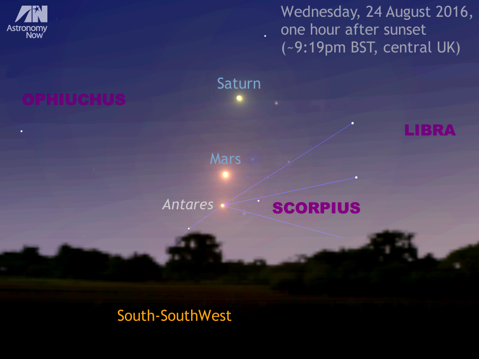 Observers in the British Isles with a clear sky one hour after sunset on 24 August (9:03pm London; 9:26pm Edinburgh; 9:16pm Cardiff; 9:32pm Dublin) should find a location that offers an unobstructed view of the south-southwest horizon. Here you will see first-magnitude star Antares in the constellation Scorpius, Mars and Saturn all in a line in the bright twilight — all three objects easily encompassed by the field of view of a low-power binocular. For scale, this view is about 25 degrees wide, or a little over the span of an outstretched hand at arm's length. AN graphic by Ade Ashford.