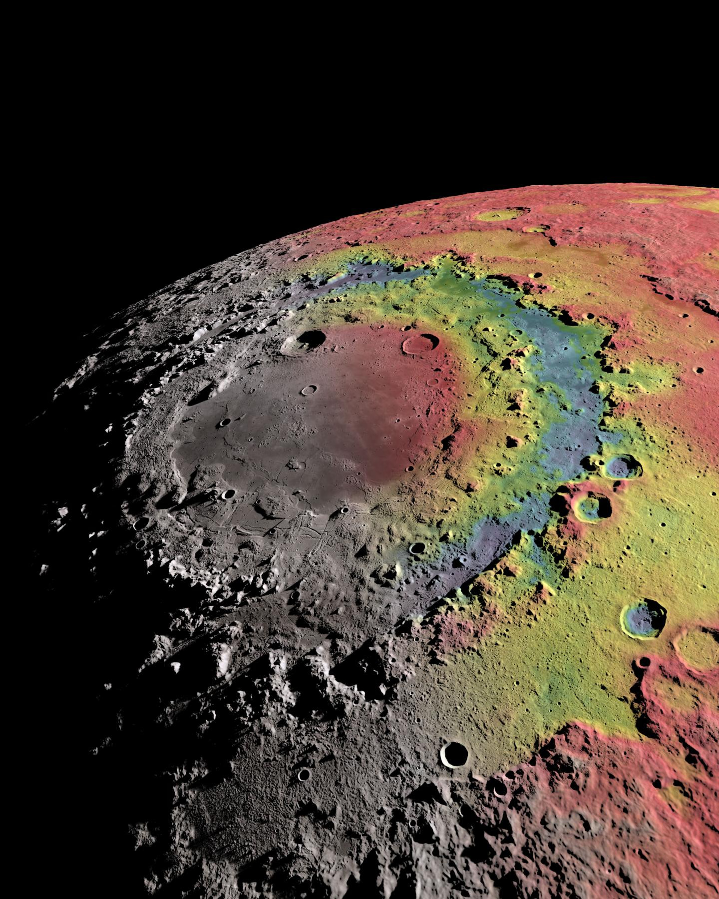 The Moon's 580-mile-wide Orientale basin has three distinct ring structures. The image shows the basin's gravitational signature (red indicates excess mass, blue indicates mass deficits), which scientists used to reconstruct the formation of the basin and its rings. Click the picture for a full-size version. Image credit: Ernest Wright, NASA/GSFC Scientific Visualisation Studio.