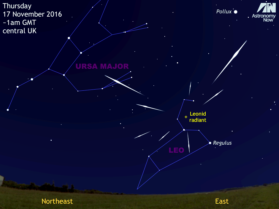 For observers in Western Europe and the British Isles, the best prospects for observing a meteor from the Leonid shower occur around the maximum, which is predicted to arrive in the small hours of Thursday 17November. However, the glare from a 17-day-old waning gibbous Moon just three days after full some 60degrees from the radiant in the Sickle of Leo will make observations difficult. For those of you up for the challenge, try to find a safe place as far removed from light pollution as you can soon after midnight that offers a clear view of the eastern sky, positioning yourself such that the Moon is hidden behind a fence or wall to minimise the glare and direct your attention to the sky halfway from horizon to overhead. AN graphic by AdeAshford.