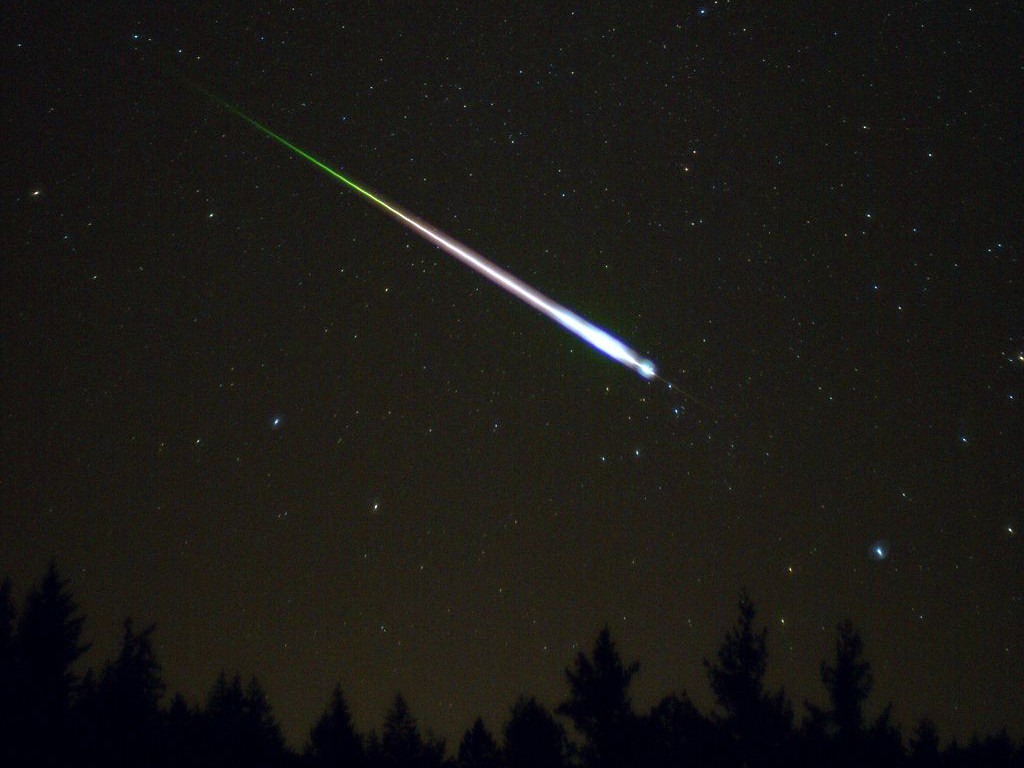 A meteor during the peak of the 2009 Leonid meteor shower, captured on 17November. Image credit: Ed Sweeney/Wikimedia Commons.