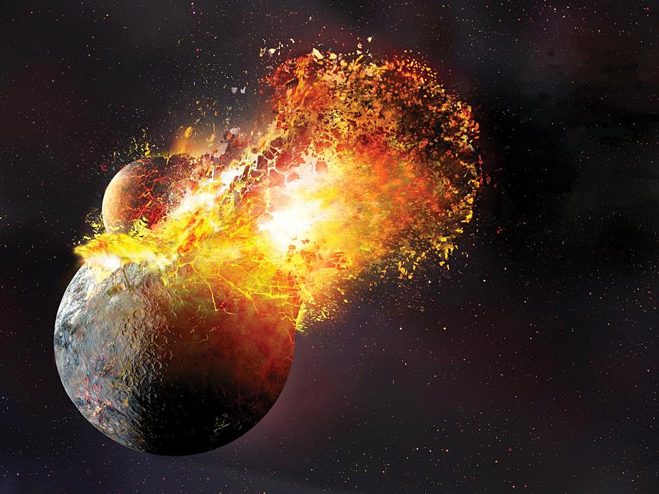The giant-impact theory suggests that the Moon formed out of the debris left over from a collision between Earth and an astronomical body the size of Mars, sometimes called Theia, about 20 to 100 million years after the solar system coalesced approximately 4.5 billion years ago. Image credit: Dana Berry. Source: Robin Canup, SwRI.