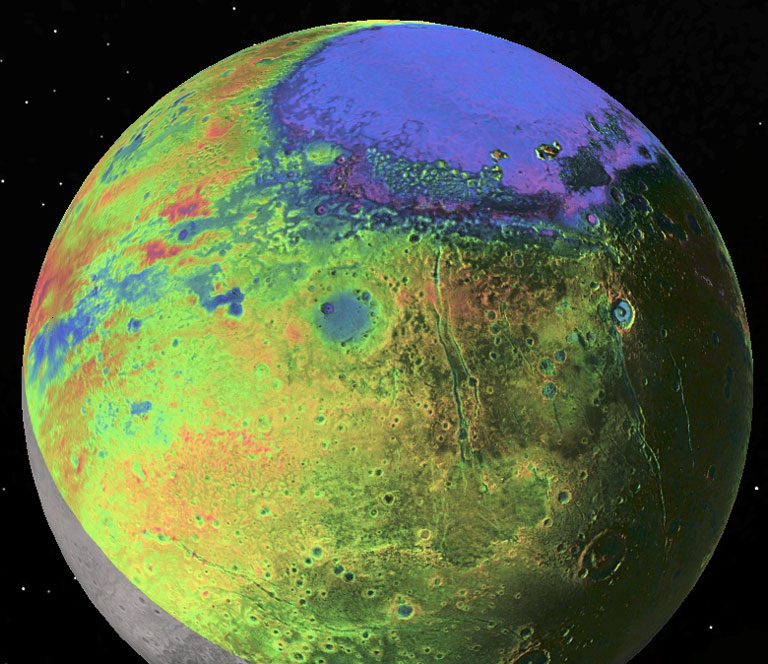 View of Pluto with colour-coded topography as measured by NASA's New Horizons spacecraft. Purple and blue are low and yellow and red are high, and the informally named Sputnik Planitia stands out at top as a broad, 1300 km- (800 mile-) wide, 2.5 km- (1.5 mile-) deep elliptical basin, most likely the site of an ancient impact on Pluto. New Horizons data imply that deep beneath this nitrogen-ice filled basin is an ocean of dense, salty, ammonia-rich water. Image: P.M. Schenk LPI/JHUAPL/SwRI/NASA.